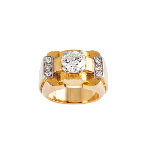 43 - A MID 20TH CENTURY DIAMOND RING, by Mellerio, in the retro style, set with an old cut diamond and fu...