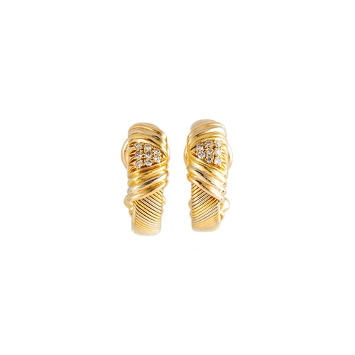 45 - A PAIR OF CARTIER EAR CLIPS, of hoop design, pavé set with diamonds, signed Cartier, in yellow gold,...