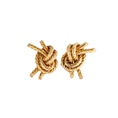 54 - A PAIR OF HERMES GOLD EARRINGS, of knot form, clip on fittings, signed Hermes, French marks for 18ct...