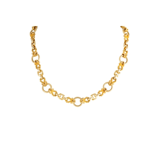 57 - AN HERMES GOLD COLLAR NECKLACE, comprising knotted links interspersed with circular and square links...