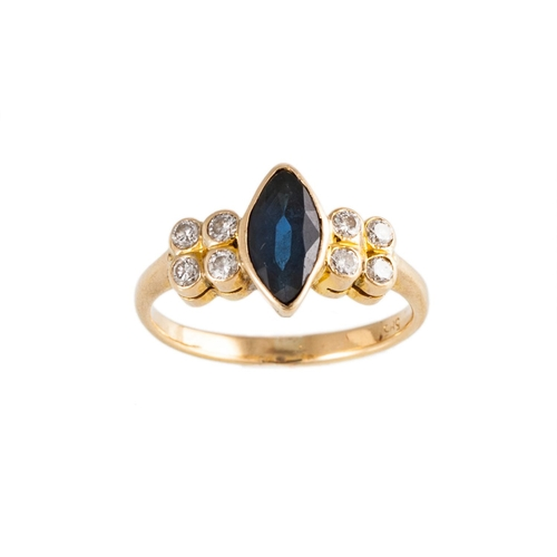 6 - A DIAMOND AND SAPPHIRE RING, the marquise cut sapphire with four collet set diamonds on each shoulde...