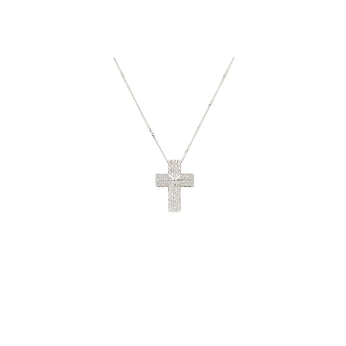 18 - A DIAMOND SET CROSS, pavé set with brilliant cut diamonds, mounted in 18ct gold, on a gold chain. Es...
