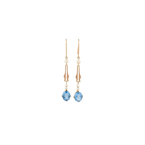 19 - A PAIR OF VINTAGE TOPAZ AND PEARL DROP EARRINGS, mounted in gold...