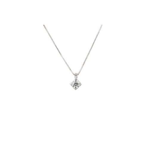 2 - A DIAMOND SOLITAIRE PENDANT, the brilliant cut diamond mounted in white gold, on a white gold chain....