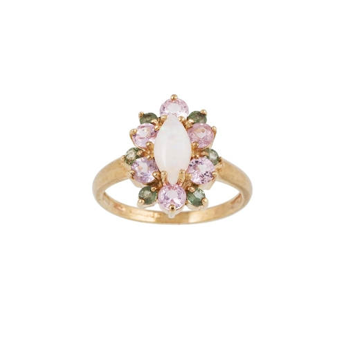 22 - AN OPAL AND TOURMALINE CLUSTER RING, mounted in 9ct gold, size I...