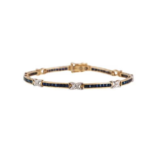26 - A DIAMOND AND SAPPHIRE BRACELET, the channel set sapphires set between x shaped diamond links, mount...
