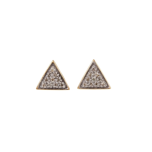 27 - A PAIR OF DIAMOND CLUSTER EARRINGS, of triangular panel form, mounted in gold. Estimated; weight of ...