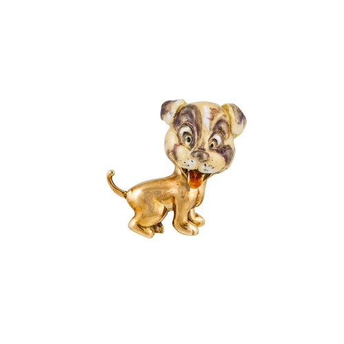 28 - AN 18CT GOLD BROOCH, modelled as a puppy dog, with enamel decoration, 8 g...