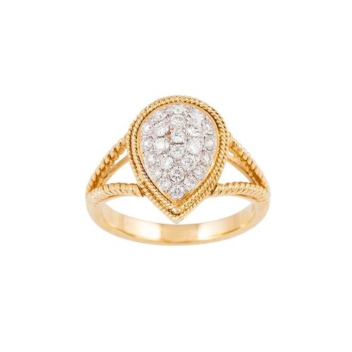 3 - A DIAMOND CLUSTER RING, pear shaped, the brilliant cut diamonds pavé set in 18ct yellow gold. Estima...