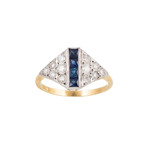 32 - AN EARLY 20TH CENTURY DIAMOND AND SAPPHIRE RING, set with French cut sapphires to the centre, flanke...
