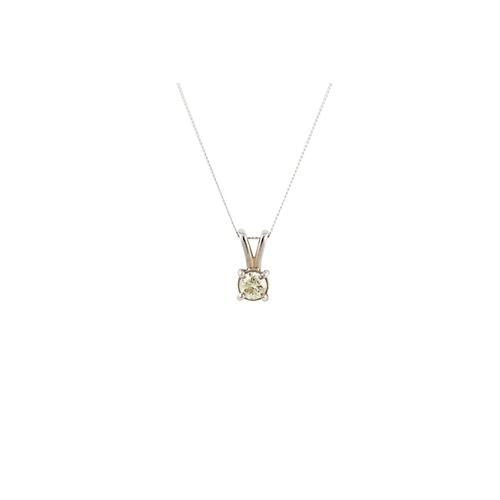 35 - A DIAMOND SOLITAIRE PENDANT, the brilliant cut diamond mounted in white gold, on a chain. Estimated;...