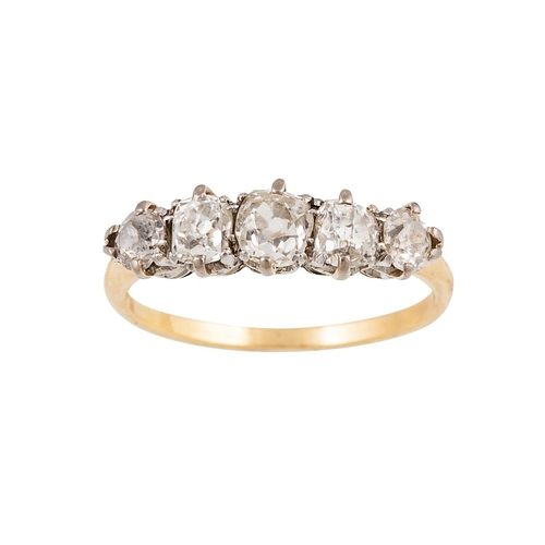 36 - A FIVE STONE DIAMOND RING, the old cut diamonds mounted in yellow gold. Estimated; weight of diamond...