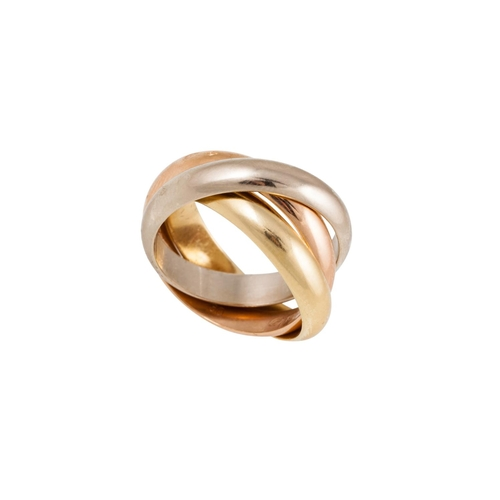 38 - A THREE COLOUR GOLD RING, comprising  three integrated bands, 18ct gold, stamped Cartier, size J-K...