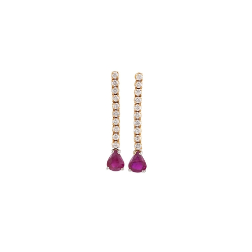 46 - A PAIR OF RUBY AND DIAMOND DROP EARRINGS, each comprising a line of brilliant cut diamonds suspendin...