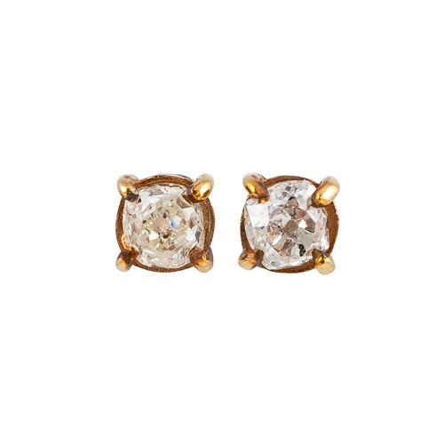 48 - A PAIR OF DIAMOND STUD EARRINGS, the old cut diamonds mounted in yellow gold. Estimated; weight of d...