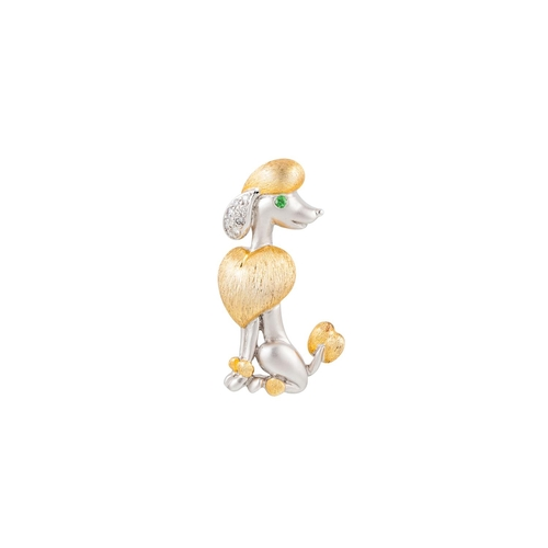 53 - A DIAMOND SET BROOCH, modelled as a poodle, mounted in 18ct white and yellow gold...