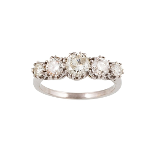 54 - A FIVE STONE DIAMOND RING, the brilliant cut diamonds mounted in 18ct white gold. Estimated; weight ...