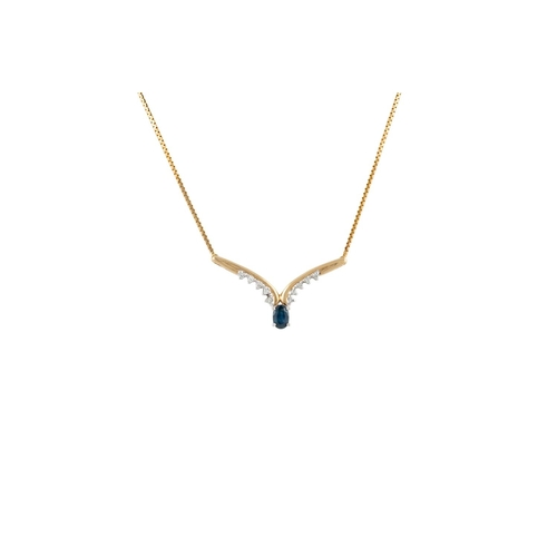 57 - A DIAMOND AND SAPPHIRE NECKLACE, v - shaped, set with oval sapphires and brilliant cut diamonds, mou...