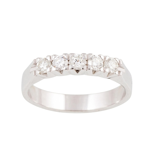 8 - A FIVE STONE DIAMOND RING, the brilliant cut diamonds mounted in 18ct white gold. Estimated; weight ...