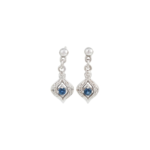 1 - A PAIR OF SAPPHIRE DROP EARRINGS, mounted in 14ct white gold, set with diamond points...
