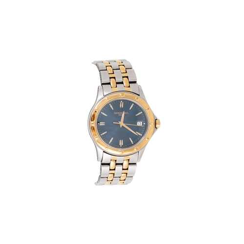 19 - A GENT'S BI METAL RAYMOND WEIL GENEVE WRIST WATCH, blue dial, boxed with spare links...