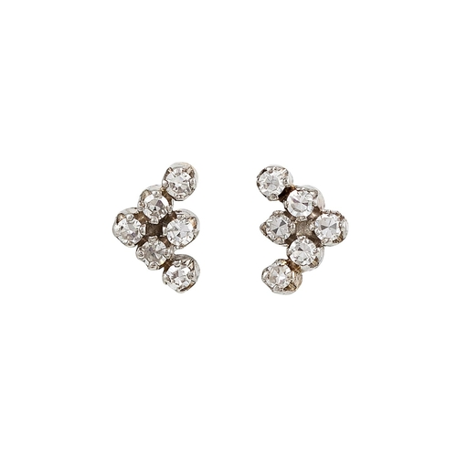 20 - A PAIR OF DIAMOND CLUSTER EARRINGS, of triangular form, the eight cut diamonds mounted in 18ct white...