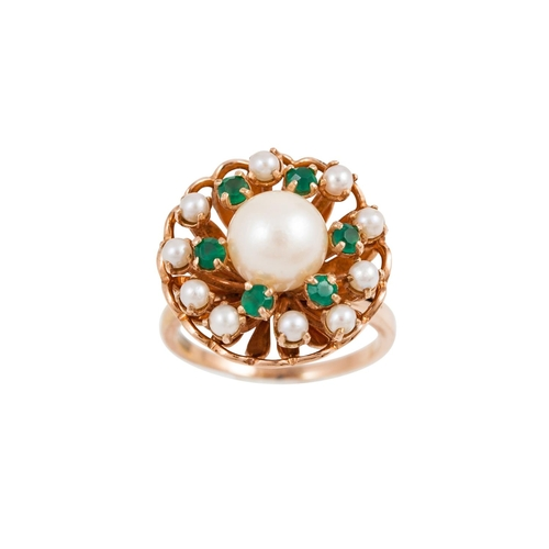 24 - A VINTAGE EMERALD AND PEARL RING, basket setting, French hallmarks, mounted in 18ct yellow gold