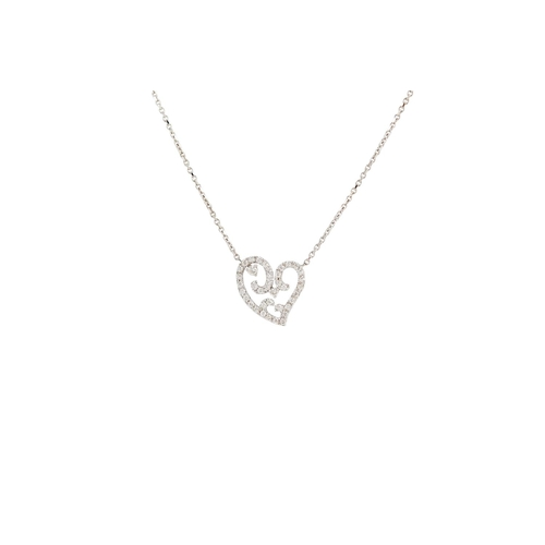 280 - A DIAMOND SET HEART SHAPED PENDANT, mounted in white gold, on a white gold chain. Estimated; weight ...