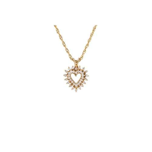 288 - A DIAMOND HEART SHAPED PENDANT, mounted in 14ct yellow gold, on a 14ct yellow gold chain. Estimated;...