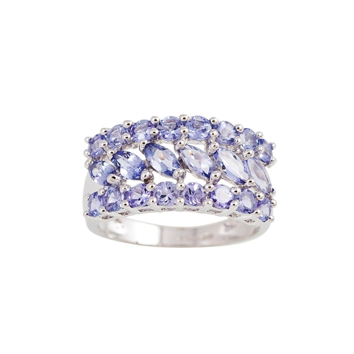 54 - A TANZANITE CLUSTER RING, of circular form, set with marquise and circular stones, mounted in 9ct wh...
