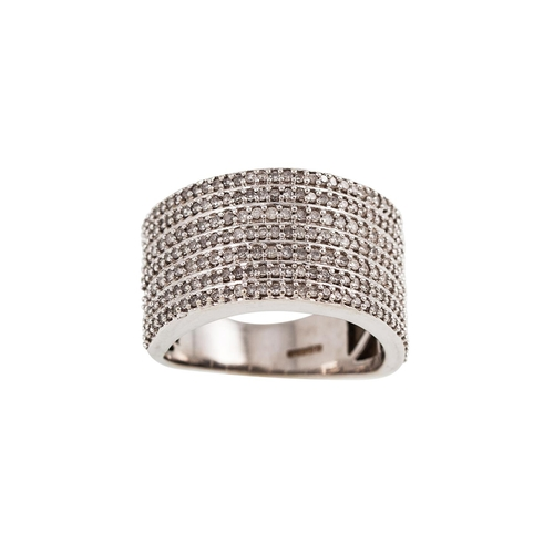 60 - A DIAMOND RING, set with seven rows of diamonds, mounted in 9ct white gold. Estimated; weight of dia...