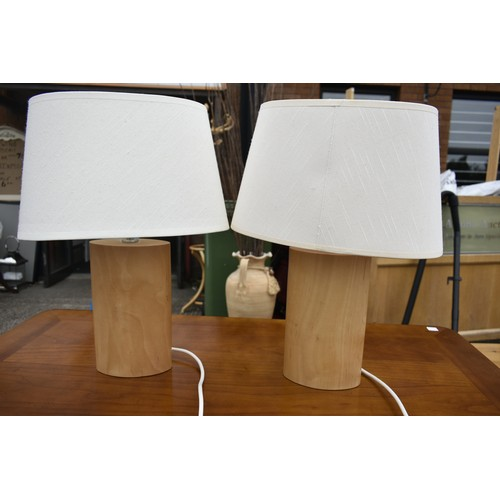 3 - PAIR BEECH LAMPS...