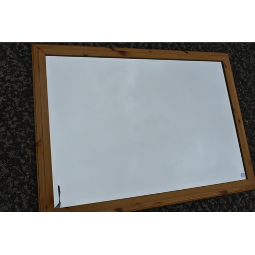 21 - PINE FRAMED MIRROR BEVELL EDGED...
