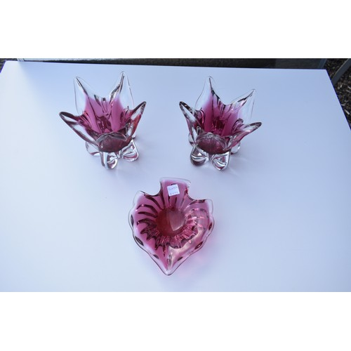 48 - 3 PIECE HEAVY CRANBERRY/RUBY GLASS...