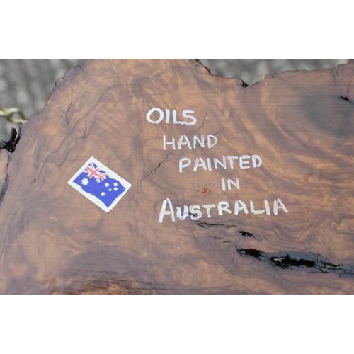 56 - AUSTRALIAN BOX AND OIL ON WOODEN PANEL...
