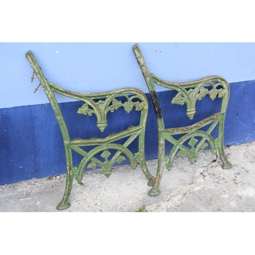 5 - CAST IRON SEAT ENDS (SOME REPAIR)