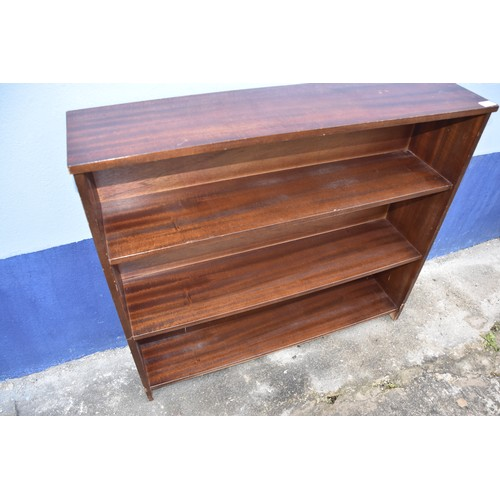8 - MAHOGANY 3 TIER BOOKSHELF
