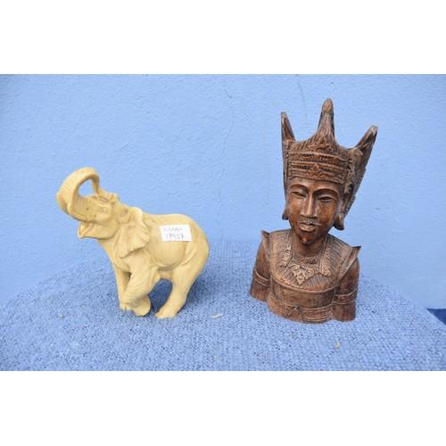 56 - ORIENTAL FIGURINE & ELEPHANT ORNAMENT