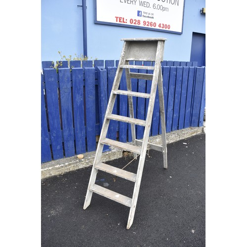 13 - OLD WOODEN STEP LADDERS
