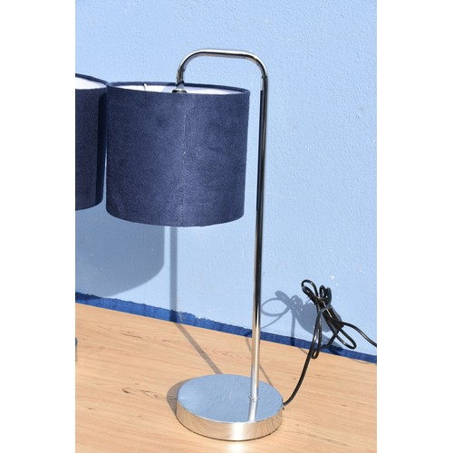 18 - PAIR OF CHROME/NAVY LAMPS