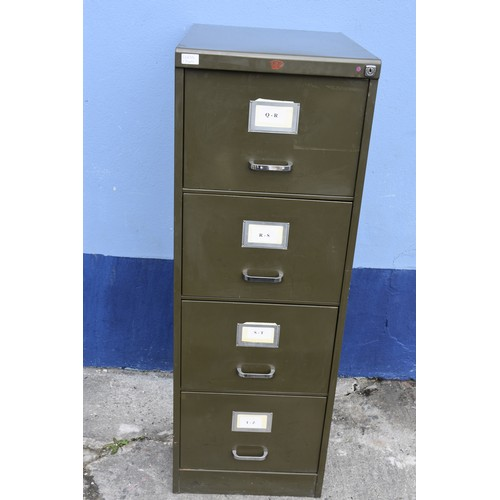 22 - A VINTAGE GREEN 4 DRAWER FILING CABINET