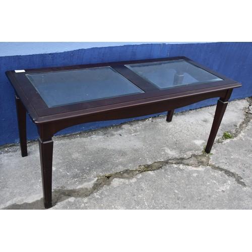 87 - MAHOGANY & GLASS TABLE