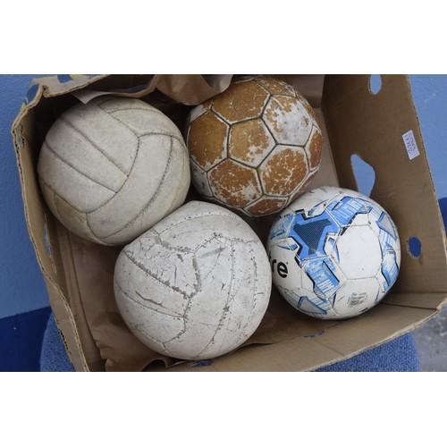 107 - QTY OF OLD FOOTBALLS