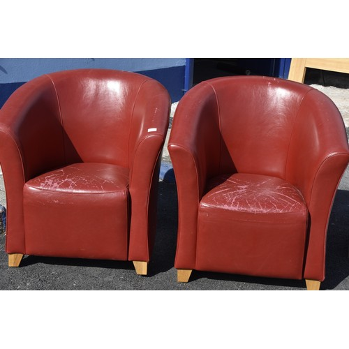 146 - 2 DESIGNER RED LEATHER TYPE TUB CHAIRS