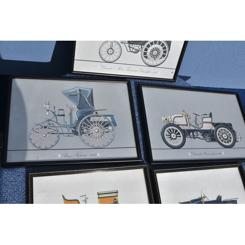 172 - 5 MIXED PRINTS OF TURN OF THE CENTURY VEHICLES