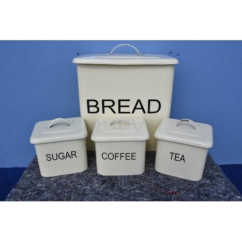 184 - ENAMEL BREAD BIN & TEA/COFFEE/SUGAR