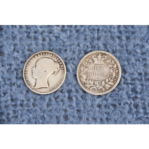 206 - 2 SILVER SHILLING 1855 AND 1864