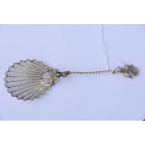 209 - AN ANTIQUE SILVER FILAGREE SPOON