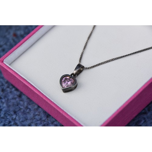 221 - A SILVER HEART NECKLACE