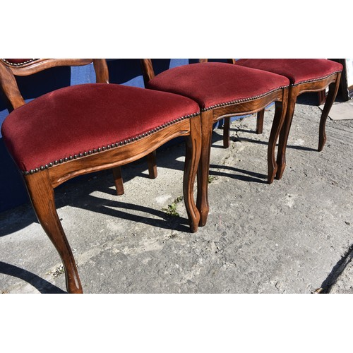 282 - 3 ORNATE BUTON BACK CHAIRS IN A RED VELOUR FINISH